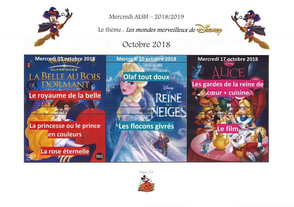planning ALSH octobre