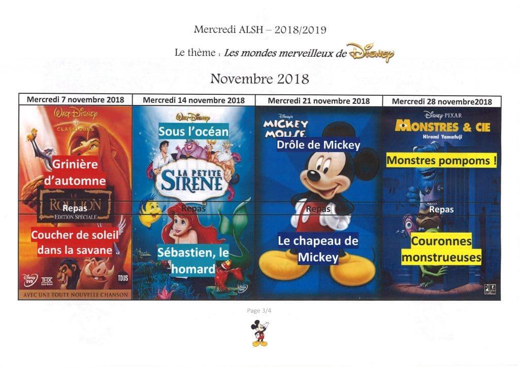 Planning ALSH novembre
